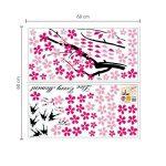 Walplus Stickers muraux fleurs roses/hirondelles/décor pour chambre d'enfants de la marque WALPLUS image 3 produit