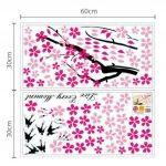 Walplus Stickers muraux fleurs roses/hirondelles/décor pour chambre d'enfants de la marque WALPLUS image 4 produit