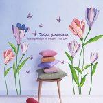 Wand WandSticker4U–Sticker mural Stickers muraux en forme de fleurs plantes fleurs mural autocollant mural décoratif pour salon, chambre, Garde-robe, cuisine, couloir XL - C. Tulpen Lila de la marque WandSticker4U image 1 produit