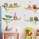 WandSticker4U- Sticker mural 9 Chouettes sur Branche | 120x100 cm | Arbre Branche Fleurs Oiseau Papillons FENÊTRE Sticker Autocollant | Stickers muraux pour Chambre Bébé Chambre D'enfant de la marque WandSticker4U image 3 produit