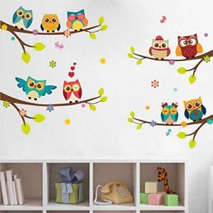 WandSticker4U- Sticker mural 9 Chouettes sur Branche | 120x100 cm | Arbre Branche Fleurs Oiseau Papillons FENÊTRE Sticker Autocollant | Stickers muraux pour Chambre Bébé Chambre D'enfant de la marque WandSticker4U image 0 produit
