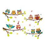 WandSticker4U- Sticker mural 9 Chouettes sur Branche | 120x100 cm | Arbre Branche Fleurs Oiseau Papillons FENÊTRE Sticker Autocollant | Stickers muraux pour Chambre Bébé Chambre D'enfant de la marque WandSticker4U image 4 produit