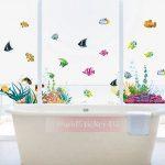 WandSticker4U- Sticker mural Chambre d'enfant Monde sousmarin Eau de Aquarium Poissons Mer | 130x42 cm | Stickers muraux pour Carrelage Autocollant Salle de Bain de la marque WandSticker4U image 2 produit