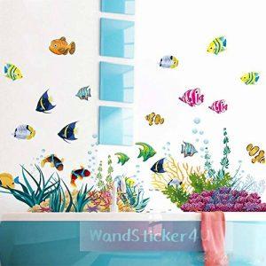 WandSticker4U- Sticker mural Chambre d'enfant Monde sousmarin Eau de Aquarium Poissons Mer | 130x42 cm | Stickers muraux pour Carrelage Autocollant Salle de Bain de la marque WandSticker4U image 0 produit