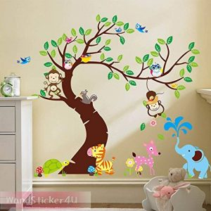 WandSticker4U- Sticker mural Chambre D'enfant SINGE ARBRE | 255x145 cm | écureuil éléphant Animal Girafe Jungle Chouette Autocollant Renard Oiseau Forêt | Stickers muraux pour Chambre Bébé de la marque WandSticker4U image 0 produit