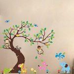 WandSticker4U- Sticker mural Chambre D'enfant SINGE ARBRE | 255x145 cm | écureuil éléphant Animal Girafe Jungle Chouette Autocollant Renard Oiseau Forêt | Stickers muraux pour Chambre Bébé de la marque WandSticker4U image 3 produit