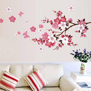 Wandsticker4u - XL Sticker mural Fleurs de cerisier Fleurs avec papillons | 165 x 75 cm | Sakura Pêche branche d'arbre forêt autocollant décoration pour salon chambre Porte-manteau cuisine couloir de la marque WandSticker4U image 0 produit