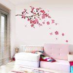 Wandsticker4u - XL Sticker mural Fleurs de cerisier Fleurs avec papillons | 165 x 75 cm | Sakura Pêche branche d'arbre forêt autocollant décoration pour salon chambre Porte-manteau cuisine couloir de la marque WandSticker4U image 1 produit
