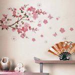 Wandsticker4u - XL Sticker mural Fleurs de cerisier Fleurs avec papillons | 165 x 75 cm | Sakura Pêche branche d'arbre forêt autocollant décoration pour salon chambre Porte-manteau cuisine couloir de la marque WandSticker4U image 4 produit