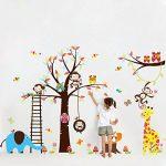 WandSticker4U- XXL Sticker mural Chambre D'enfant grand ARBRE | 240x150 cm | Singe écureuil éléphant Girafe Animal Chouette Autocollant Renard Oiseau | Stickers muraux pour Chambre Bébé de la marque WandSticker4U image 4 produit
