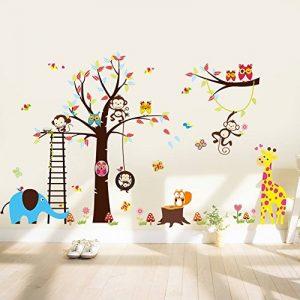 WandSticker4U- XXL Sticker mural Chambre D'enfant grand ARBRE | 240x150 cm | Singe écureuil éléphant Girafe Animal Chouette Autocollant Renard Oiseau | Stickers muraux pour Chambre Bébé de la marque WandSticker4U image 0 produit