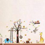 WandSticker4U- XXL Sticker mural Chambre D'enfant grand ARBRE | 240x150 cm | Singe écureuil éléphant Girafe Animal Chouette Autocollant Renard Oiseau | Stickers muraux pour Chambre Bébé de la marque WandSticker4U image 2 produit