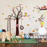 WandSticker4U- XXL Sticker mural Chambre D'enfant grand ARBRE | 240x150 cm | Singe écureuil éléphant Girafe Animal Chouette Autocollant Renard Oiseau | Stickers muraux pour Chambre Bébé de la marque WandSticker4U image 3 produit