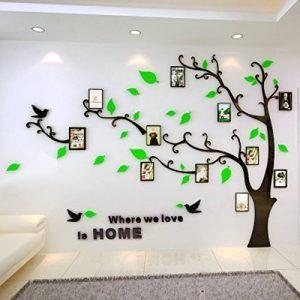 Warmcasa Stickers Autocollants Muraux 3D en Acrylique Arbre avec des Branches Incurvées et des Cadres de Photo et des Oiseaux (L, Vert vers Gauche) de la marque Warmcasa image 0 produit