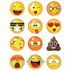 WHFDRHQT sticker mural Stickers Autocollant mural grand format avec 12 faces Emoji de la marque WHFDRHQT image 0 produit
