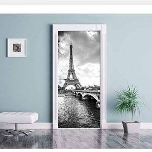 WHXJ Stickers Muraux Noir Blanc Paires Tour Eiffel DIY Porte Murale Chambre Décor À La Maison Affiche PVC Étanche Porte Autocollant 77X200Cm de la marque WHXJ image 0 produit