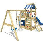 WICKEY Aire de jeux SeaFlyer Portique de jeux en bois avec balançoire, mur d'escalade, échelle de corde, bac à sable et accessoires, toboggan bleu de la marque Wickey image 2 produit