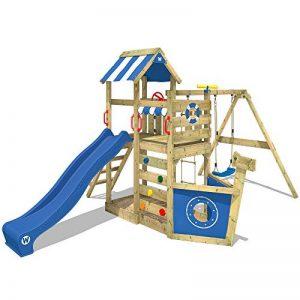 WICKEY Aire de jeux SeaFlyer Portique de jeux en bois avec balançoire, mur d'escalade, échelle de corde, bac à sable et accessoires, toboggan bleu de la marque Wickey image 0 produit
