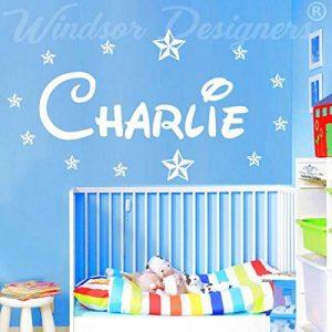 """Windsor Designers Autocollant mural avec prénom et étoiles, style Disney chambre enfants, nursery B zz2, personnalisable, bleu bébé, -Large -SIZE 120cm x 40cm (48"""" x 16"""") de la marque Windsor Designers image 0 produit"""
