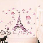 Winhappyhome Paris Tower Pink Butterfly Art Muraux Stickers pour Chambre à Coucher Salon Café-restaurante Décalcomanies Décor Amovibles de la marque Winhappyhome image 4 produit