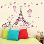 Winhappyhome Paris Tower Pink Butterfly Art Muraux Stickers pour Chambre à Coucher Salon Café-restaurante Décalcomanies Décor Amovibles de la marque Winhappyhome image 3 produit