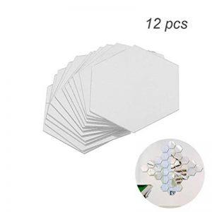 WINOMO Stickers muraux miroirs DIY Amovibles Hexagonale Stickers Muraux Mur Decal Décoration 8 x 8cm 12 pièces (Argent) de la marque WINOMO image 0 produit