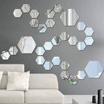 WINOMO Stickers muraux miroirs DIY Amovibles Hexagonale Stickers Muraux Mur Decal Décoration 8 x 8cm 12 pièces (Argent) de la marque WINOMO image 3 produit