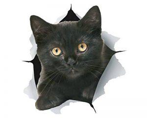 Winston & Bear Autocollants Chat Muraux 3D - Paquet de 2 - Autocollants Décoratifs Drole - Stickers Chaton Noir Pour Mur - Frigo - Toilette - Salle - Voiture de la marque Winston & Bear image 0 produit