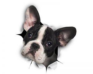 Winston & Bear Autocollants pour Chien 3D - 2 Pack - Noir et Blanc français Autocollants Bulldog Mur, réfrigérateur, Toilettes et Plus Frenchie Autocollants de la marque Winston & Bear image 0 produit