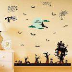 WISDOM Festive Celebration Décorez Happy Wall Sticker Witch Sorcière Bat Spider Web Fenêtre Autocollant en Verre Sticker Mural,comme montré,60 * 90cm de la marque WISDOM image 1 produit