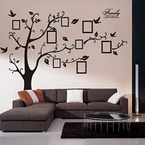 Woneart Sticker mural en PVC, amovible, noir, immense, motif arbre avec cadre photos, sticker amovible, noir de la marque Woneart image 0 produit