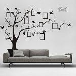 Woneart Sticker mural en PVC, amovible, noir, immense, motif arbre avec cadre photos, sticker amovible, noir de la marque Woneart image 2 produit