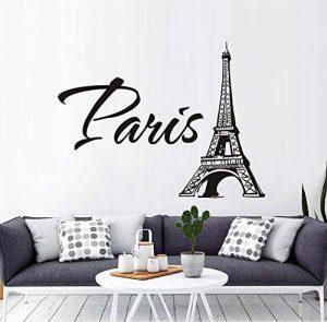 xlei Sticker Mural Stickers Muraux Paris La Tour Eiffel Salon Chambre TV Canapé Fond Muursticker Décoration Murale Amovible PVC Autocollants58X72Cm de la marque xlei image 0 produit