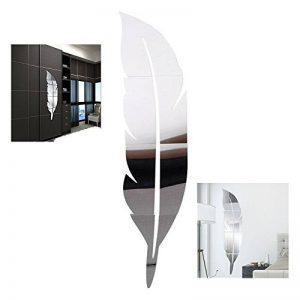 XLKJ Autocollant Mural 3D, Démontable Plumes Miroir Wall Stickers Autocollant, Décoration de Maison(Argent) de la marque XLKJ image 0 produit