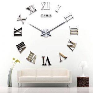 Yosoo DIY 3D Horloge Murale Design Géante Grande Taille Moderne Ronde avec Chiffres Romains pour Décoration Salon Bureau - Argent de la marque Yosoo image 0 produit