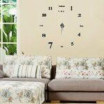 Yosoo DIY 3D Horloge Murale Design Géante Grande Taille Moderne Ronde avec Lettres Anglais Artistiques pour Décoration Salon Bureau - Style 1, Noire de la marque Yosoo image 4 produit