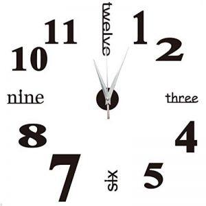 Yosoo DIY 3D Horloge Murale Design Géante Grande Taille Moderne Ronde avec Lettres Anglais Artistiques pour Décoration Salon Bureau - Style 1, Noire de la marque Yosoo image 0 produit
