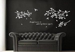 zooarts Oiseau Blanc Motif branche sticker mural en vinyle amovible Prunier de la marque Zooarts image 0 produit