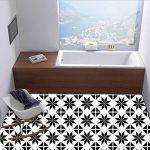 ZYX Stickers muraux carreaux en Vintage salle de bain et cuisine   adhésif sticker feuille pour carreaux salle de bain et crédence Autocollant de plancher Rétro noir et blanc CZ054 , 20cm*100cm*2pcs de la marque JY ART image 3 produit