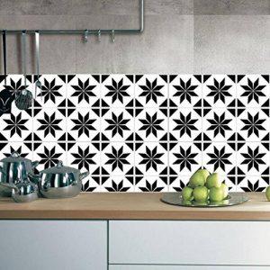 ZYX Stickers muraux carreaux en Vintage salle de bain et cuisine | adhésif sticker feuille pour carreaux salle de bain et crédence Autocollant de plancher Rétro noir et blanc CZ054 , 20cm*100cm*2pcs de la marque JY ART image 0 produit